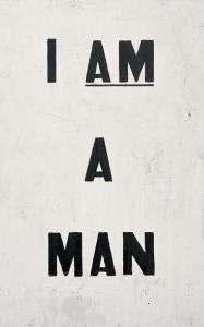 Glenn Ligon, Untitled (I Am a Man), 1988. Collection of the artist. Courtesy of the artist and Regen Projects, Los Angeles. � Glenn Ligon. Photograph by Ronald Amstutz