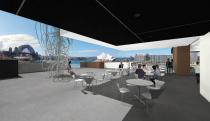The new Sculpture Terrace, a spectacular space for art overlooking Sydney Harbour. Rendering © Museum of Contemporary Art Australia