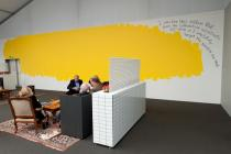"""The Yellow Blob Story"", a wall piece by Nedko Solakov at the Deutsche Bank Lounge. Photo: Marc Schlossman"