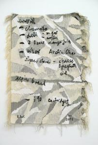 Ingrid Wiener, Shopping List For Whitehorse, 2012. Tapestry. Photo: Nick Ash. Courtesy: Wien Lukatsch, Berlin