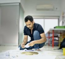 Imran Qureshi in his studio. Photo: Hassam Rana. © Hassam Rana