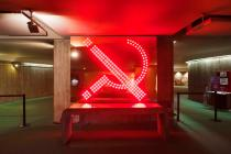 "Raqs Media Collective, Marks, work in the exhibition ""Reading Light"", presented in Oscar Niemeyer's iconic building for the French Communist Party at the Place Colonel Fabien, Paris, 2011. Photo: Martin Argyrolo. © Raqs Media Collective and Frith Street Gallery, London, 2014."