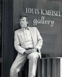 Louis K. Meisel on the steps of Louis K. Meisel Gallery, New York, ca. 1990