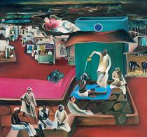 Bhupen Khakhar, Death in family, 1978. Courtesy the artist's estate
