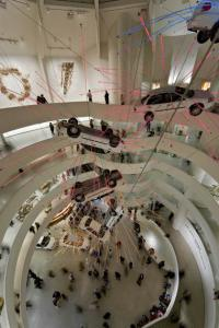 Cai Guo-Qiang, Inopportune: Stage One, 2004 Nine cars and sequenced multichannel light tubes. Seattle Art Museum, Exhibition copy installed at Solomon R. Guggenheim Museum, New York, 2008, � Solomon R. Guggenheim Foundation New York. Photo by David Heald