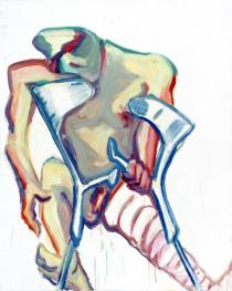 Maria Lassnig, Untitled (crutches, broken leg), 2005, Courtesy Friedrich Petzel Gallery