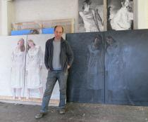Lovro Artukovic in his studio, Berlin summer 2013, Photo: Achim Drucks