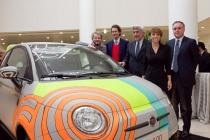 From left to right: Tobias Rehberger, artist; John Elkann, Fiat's Chairman; Daniele Farina, Sant'Anna Hospital; Patrizia Sandretto Re Rebaudengo,  Chairman of Fondazione Sandretto Re Rebaudengo; Flavio Valeri, CEO Deutsche Bank Italy.