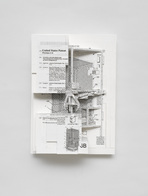 Simon Denny, Document Relief 5 (Amazon Worker Cage patent), 2019. Photo: Nick Ash. Courtesy the Artist, Altman Siegel.