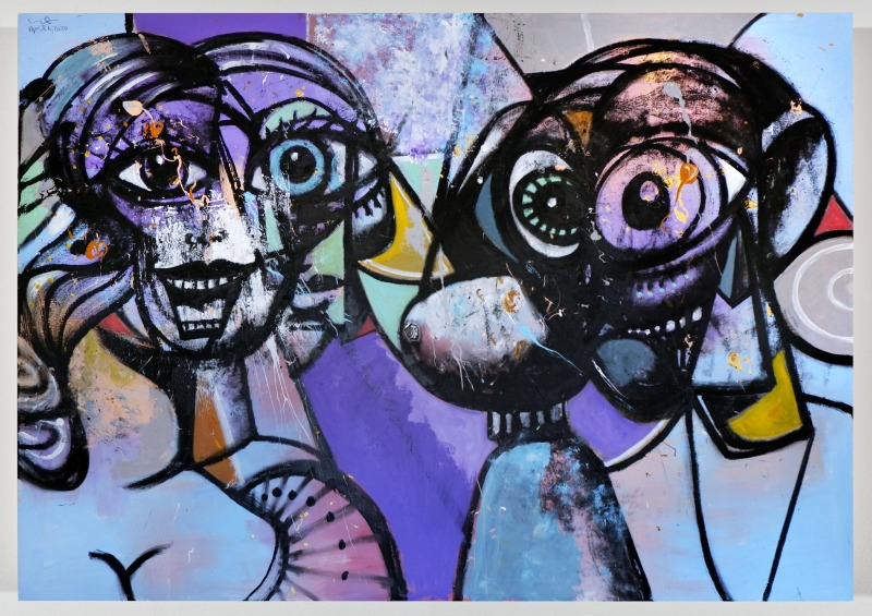 Frieze Main Section: George Condo, Distanced Figures 3, 2020. © George Condo. Hauser & Wirth